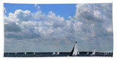 Sails And Clouds Bath Towel