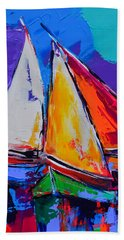 Hand Towel featuring the painting Sails Colors by Elise Palmigiani