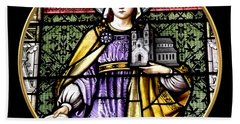 Saint Adelaide Stained Glass Window In The Round Bath Towel