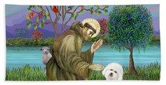 Saint Francis Blesses A Bichon Frise Bath Towel