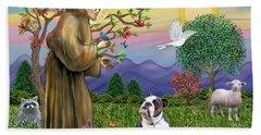 Saint Francis Blesses A Brown And White English Bulldog Bath Towel