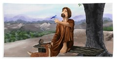Hand Towel featuring the painting Saint Francis by Susan Kinney