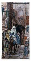Saint Joseph Seeks Lodging In Bethlehem Hand Towel by Tissot