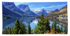 Saint Mary Lake In Glacier National Park Hand Towel