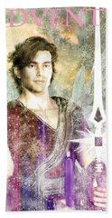 Bath Towel featuring the painting Saint  Michael 9 by Suzanne Silvir