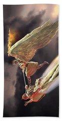 Hand Towel featuring the sculpture Saint Michael The Archangel by Dave Luebbert
