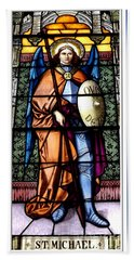Bath Towel featuring the photograph Saint Michael The Archangel Stained Glass Window by Rose Santuci-Sofranko