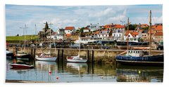 Saint Monans Harbour Hand Towel by MaryJane Armstrong