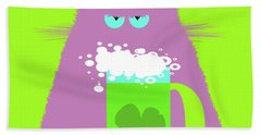 Saint Patrick's Day Lilac Cat  Bath Towel