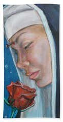 Saint Rita Of Cascia Bath Towel by Bryan Bustard