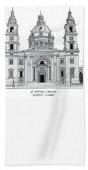 Bath Towel featuring the drawing Saint Stephens Basilica by Frederic Kohli