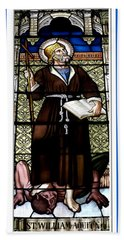 Saint William Of Aquitaine Stained Glass Window Hand Towel by Rose Santuci-Sofranko