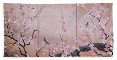 Sakura - Cherry Trees In Bloom Bath Towel by Sorin Apostolescu