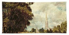 Salisbury Cathedral From Lower Marsh Close Hand Towel
