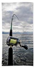 Salmon Fishing Rod Hand Towel by Darcy Michaelchuk