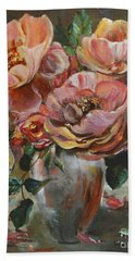 Hand Towel featuring the painting Salmon Rose by Ryn Shell