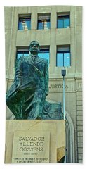 Salvador Allende Sculpture In Front Of The Hall Of Justice On Plaza De Constitucion In Santiago-ch Hand Towel
