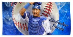 Salvador Perez 2015 World Series Mvp Bath Towel by Colleen Taylor