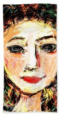 Hand Towel featuring the digital art Samantha by Elaine Lanoue