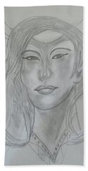 Samarai Warrior Woman Hand Towel by Sharyn Winters