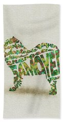 Hand Towel featuring the painting Samoyed Watercolor Painting / Typographic Art by Inspirowl Design