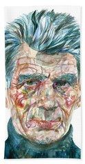 Bath Towel featuring the painting Samuel Beckett Watercolor Portrait.10 by Fabrizio Cassetta