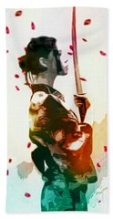 Samurai Girl - Watercolor Painting Bath Towel