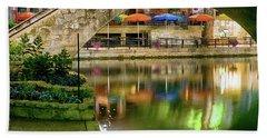 San Antonio River Walk Green Hand Towel