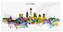 San Antonio Skyline Silhouette Hand Towel