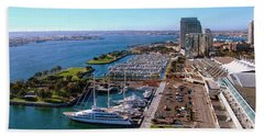 San Diego By Day Hand Towel by Glenn McCarthy Art and Photography
