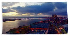 San Diego By Night Hand Towel by Glenn McCarthy Art and Photography
