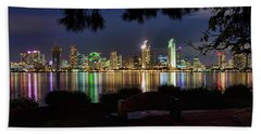 San Diego Skyline Hand Towel by Eddie Yerkish