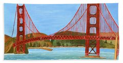 Bath Towel featuring the painting San Francisco Bridge  by Magdalena Frohnsdorff