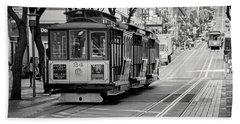 San Francisco Cable Cars Hand Towel by Eddie Yerkish