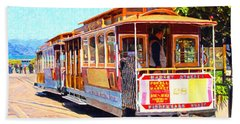 San Francisco Cablecar At Fishermans Wharf . 7d14097 Hand Towel