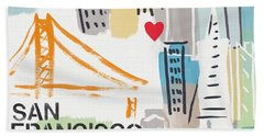 San Francisco Cityscape- Art By Linda Woods Bath Towel
