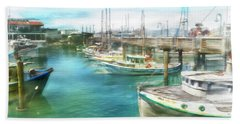 Hand Towel featuring the digital art San Francisco Fishing Boats by Michael Cleere