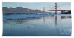 San Francisco Golden Gate Bridge Reflected On Baker's Beach Wet  Hand Towel