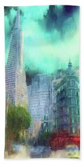 Hand Towel featuring the digital art San Francisco by Michael Cleere