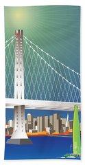 San Francisco New Oakland Bay Bridge Cityscape Hand Towel