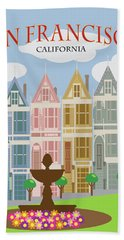 San Francisco Painted Ladies Poster Illustration Bath Towel