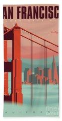 San Francisco Retro Travel Poster Bath Towel