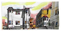 Hand Towel featuring the painting San Francisco Side Street by Terry Banderas