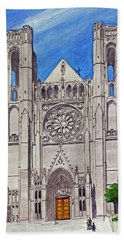 San Francisco's Grace Cathedral Hand Towel by Mike Robles