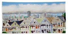 San Francisco's Painted Ladies Bath Towel by Mike Robles