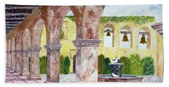 San Juan Capistrano Courtyard Bath Towel by Laura Iverson