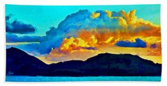 Hand Towel featuring the painting San Juan Seascape by Joan Reese