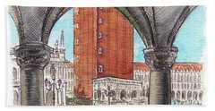 Hand Towel featuring the painting San Marcos Square Venice Italy by Irina Sztukowski
