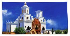 Hand Towel featuring the painting San Xavier Del Bac Mission by M Diane Bonaparte