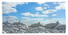 Sand Dolphins At Siesta Key Beach Bath Towel